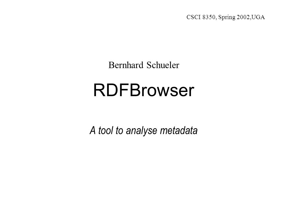 Bernhard Schueler - RDFBrowser 12 Search space – Example