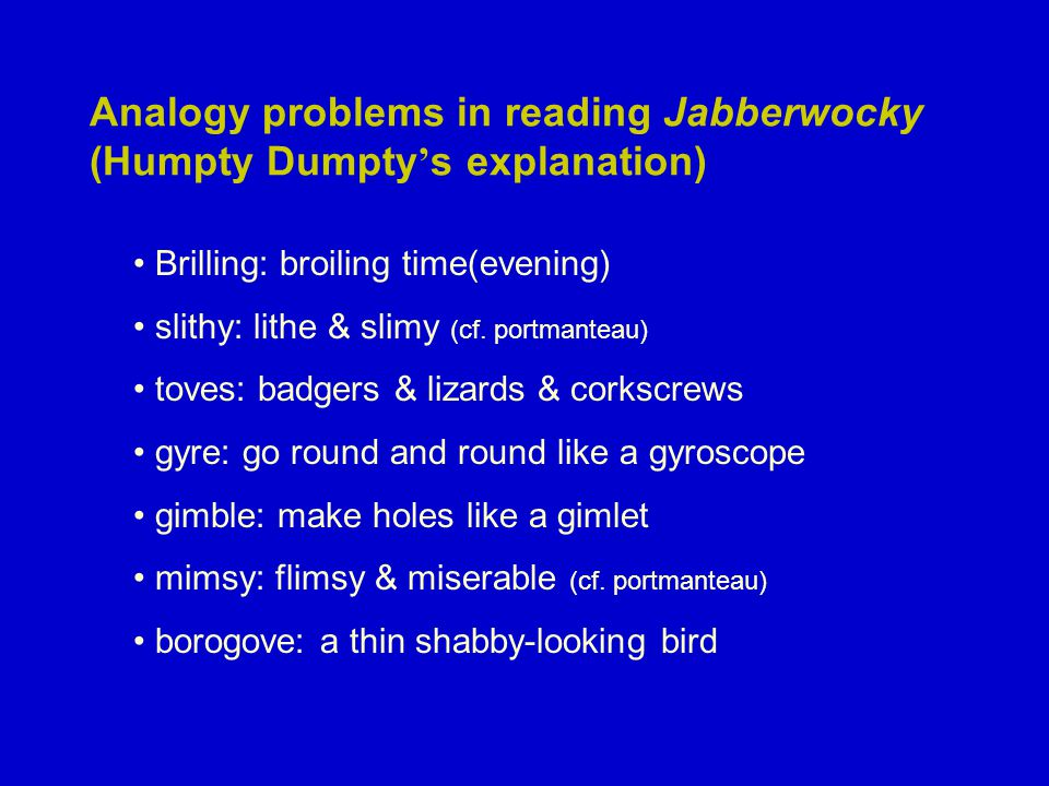 Analogy problems in reading Jabberwocky (Humpty Dumpty ' s explanation) Brilling: broiling time(evening) slithy: lithe & slimy (cf.