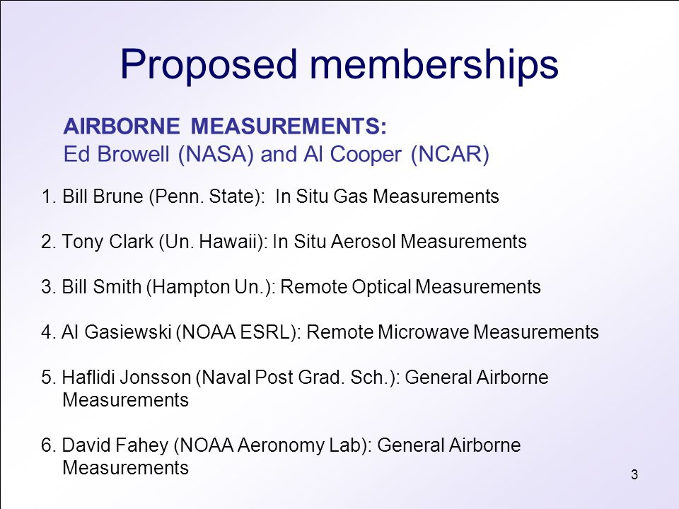 3 Proposed memberships 1.Bill Brune (Penn. State): In Situ Gas Measurements 2. Tony Clark (Un. Hawaii): In Situ Aerosol Measurements 3. Bill Smith (Ha