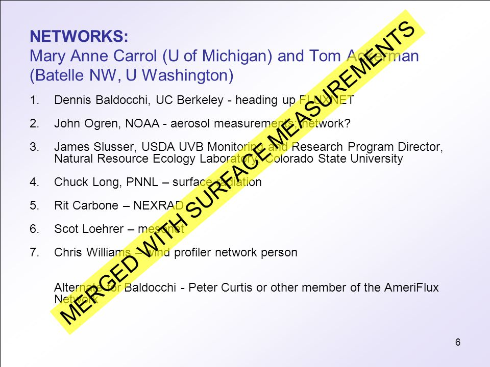 6 NETWORKS: Mary Anne Carrol (U of Michigan) and Tom Ackerman (Batelle NW, U Washington) 1.Dennis Baldocchi, UC Berkeley - heading up FLUXNET 2.John Ogren, NOAA - aerosol measurements; network.