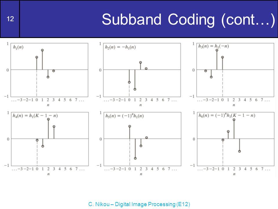 12 C. Nikou – Digital Image Processing (E12) Subband Coding (cont…)