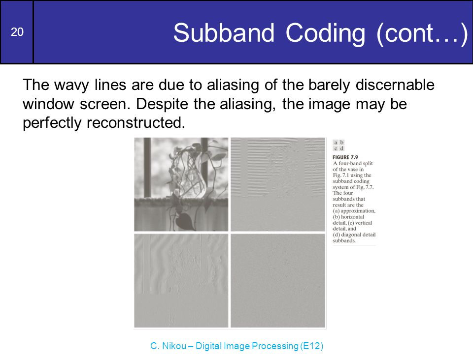 20 C. Nikou – Digital Image Processing (E12) Subband Coding (cont…) The wavy lines are due to aliasing of the barely discernable window screen. Despit