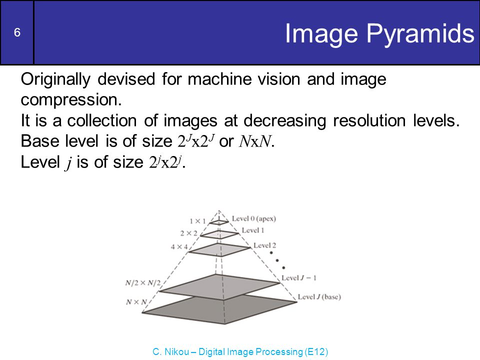 6 C. Nikou – Digital Image Processing (E12) Image Pyramids Originally devised for machine vision and image compression. It is a collection of images a