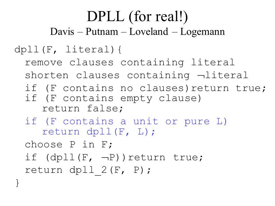 DPLL (for real!) Davis – Putnam – Loveland – Logemann dpll(F, literal){ remove clauses containing literal shorten clauses containing  literal if (F contains no clauses)return true; if (F contains empty clause) return false; if (F contains a unit or pure L) return dpll(F, L); choose P in F; if (dpll(F,  P))return true; return dpll_2(F, P); }