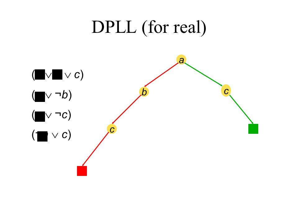 a b c c (a  b  c) (a  ¬b) (a  ¬c) (¬a  c) DPLL (for real)