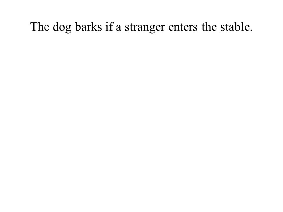 The dog barks if a stranger enters the stable.