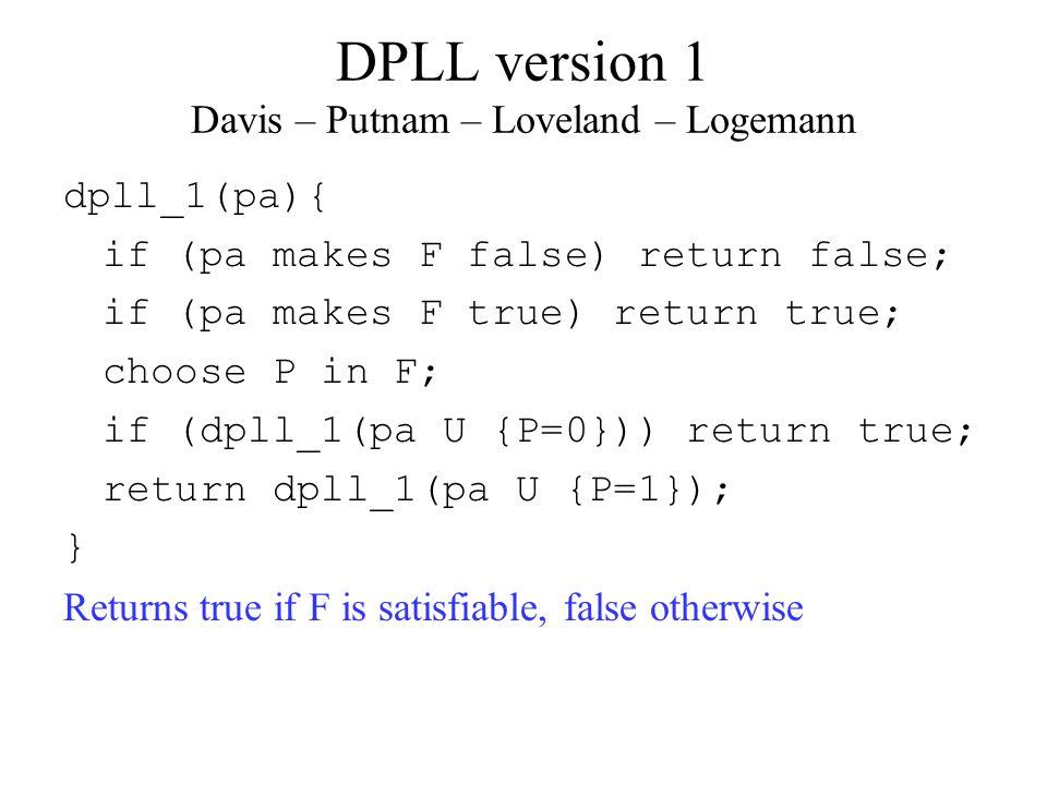 DPLL version 1 Davis – Putnam – Loveland – Logemann dpll_1(pa){ if (pa makes F false) return false; if (pa makes F true) return true; choose P in F; if (dpll_1(pa U {P=0})) return true; return dpll_1(pa U {P=1}); } Returns true if F is satisfiable, false otherwise