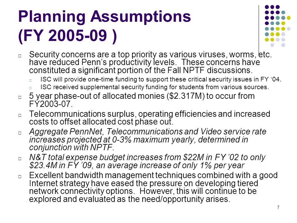 7 Planning Assumptions (FY 2005-09 ) □ Security concerns are a top priority as various viruses, worms, etc.
