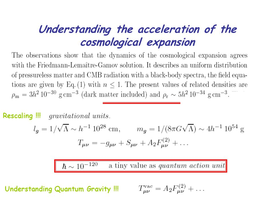 Understanding the acceleration of the cosmological expansion Rescaling !!.