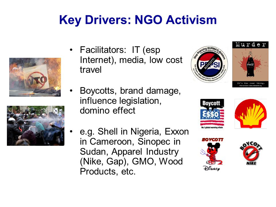 Key Drivers: NGO Activism Facilitators: IT (esp Internet), media, low cost travel Boycotts, brand damage, influence legislation, domino effect e.g.