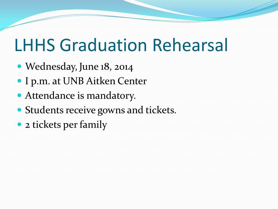 LHHS Graduation Rehearsal Wednesday, June 18, 2014 I p.m.