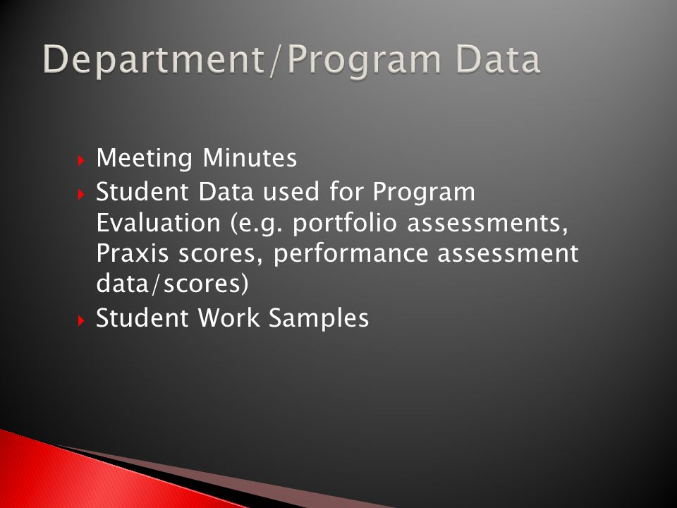 Meeting Minutes  Student Data used for Program Evaluation (e.g.