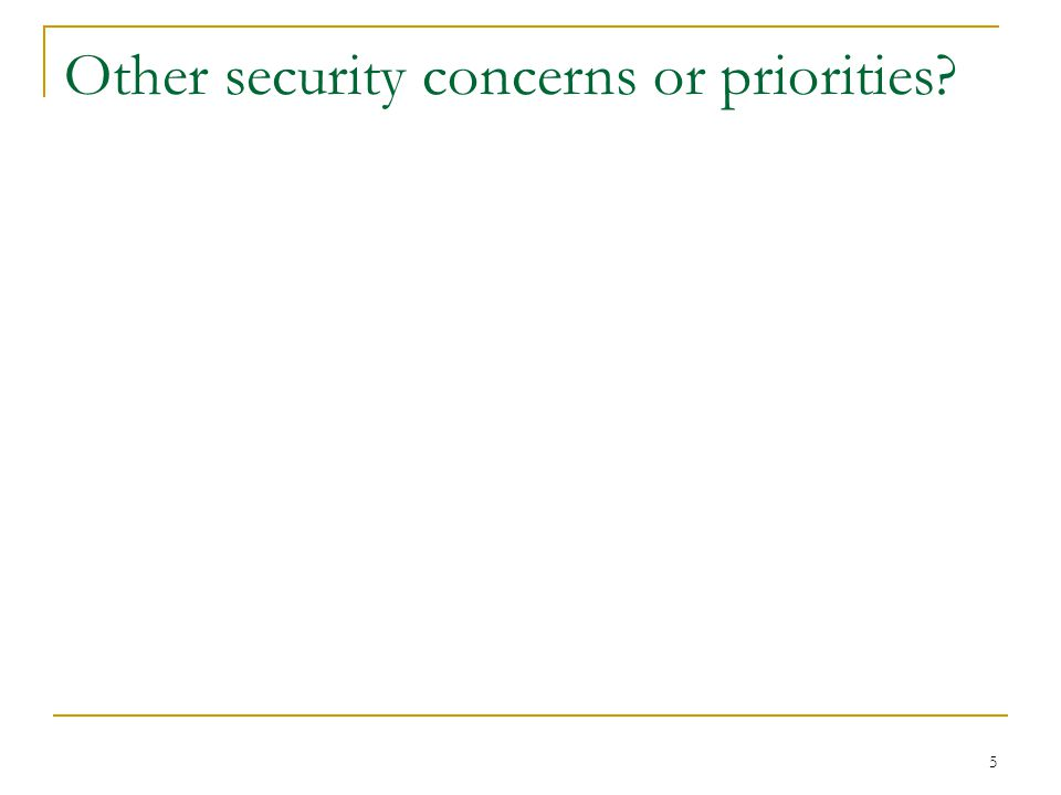 5 Other security concerns or priorities
