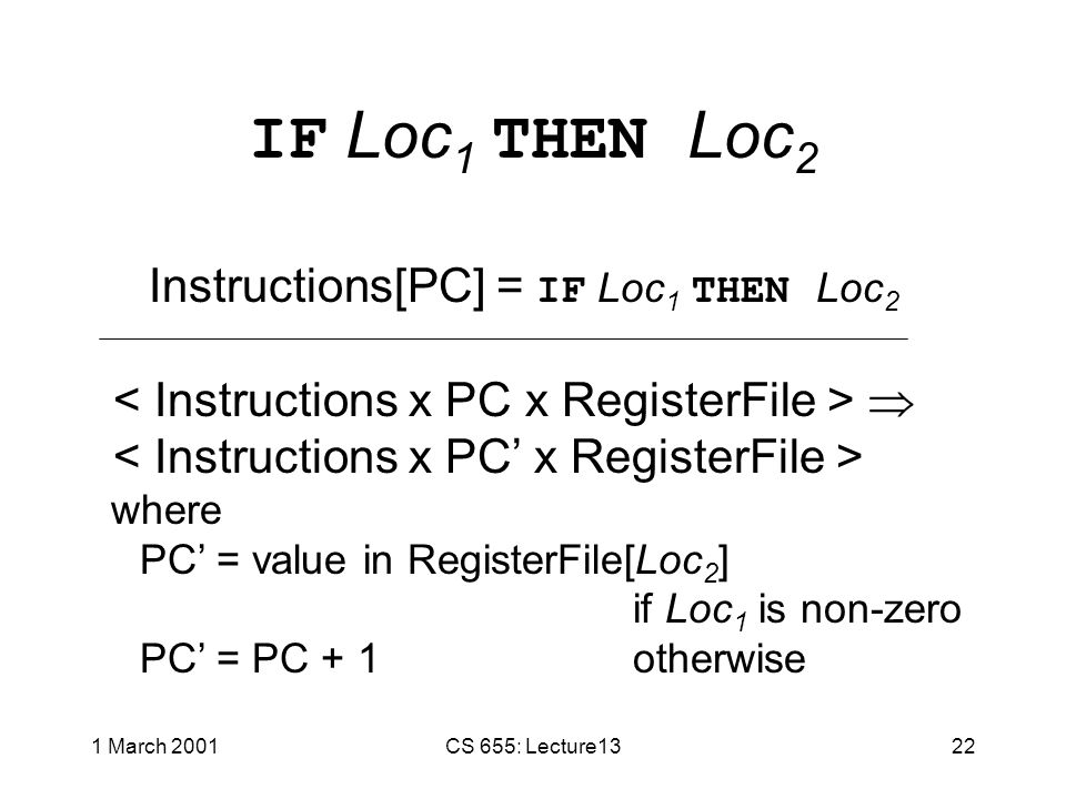 1 March 2001CS 655: Lecture1321 GOTO Loc Instructions[PC] = GOTO Loc  where PC' = value in RegisterFile[Loc]