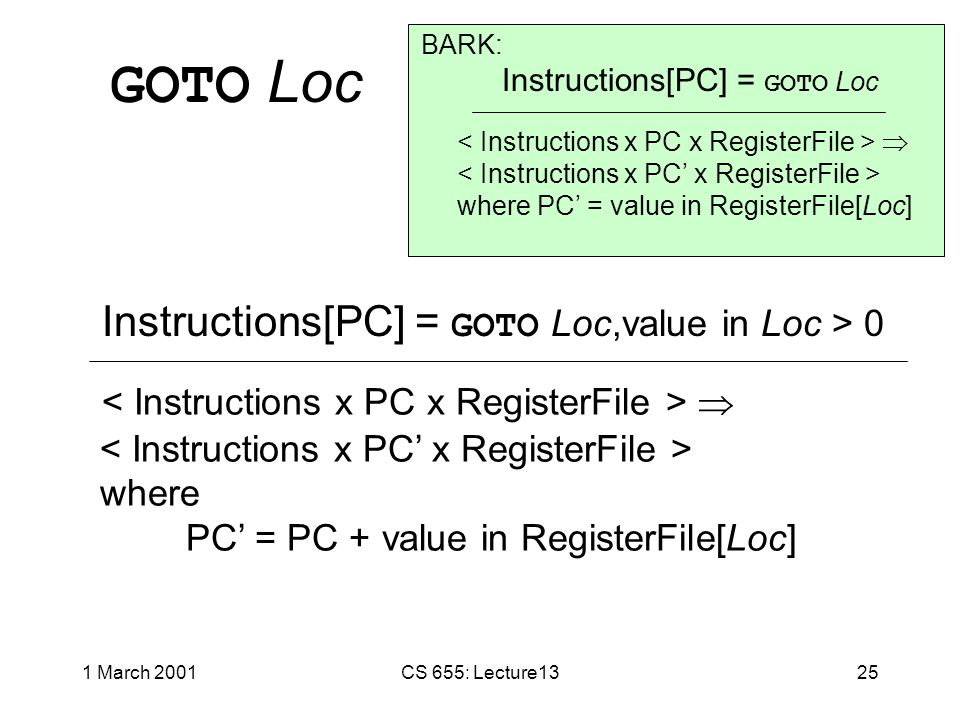 1 March 2001CS 655: Lecture1324 Variation: BARK-forward Same as BARK except: GOTO LocJump forward Loc instructions.