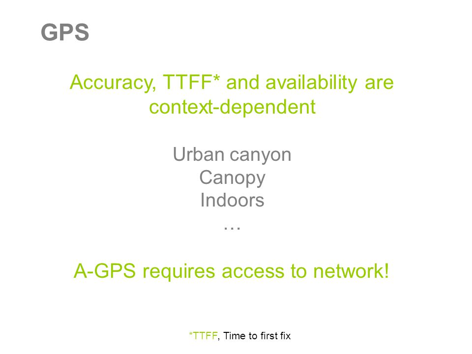 GPS Accuracy, TTFF* and availability are context-dependent Urban canyon Canopy Indoors … A-GPS requires access to network.