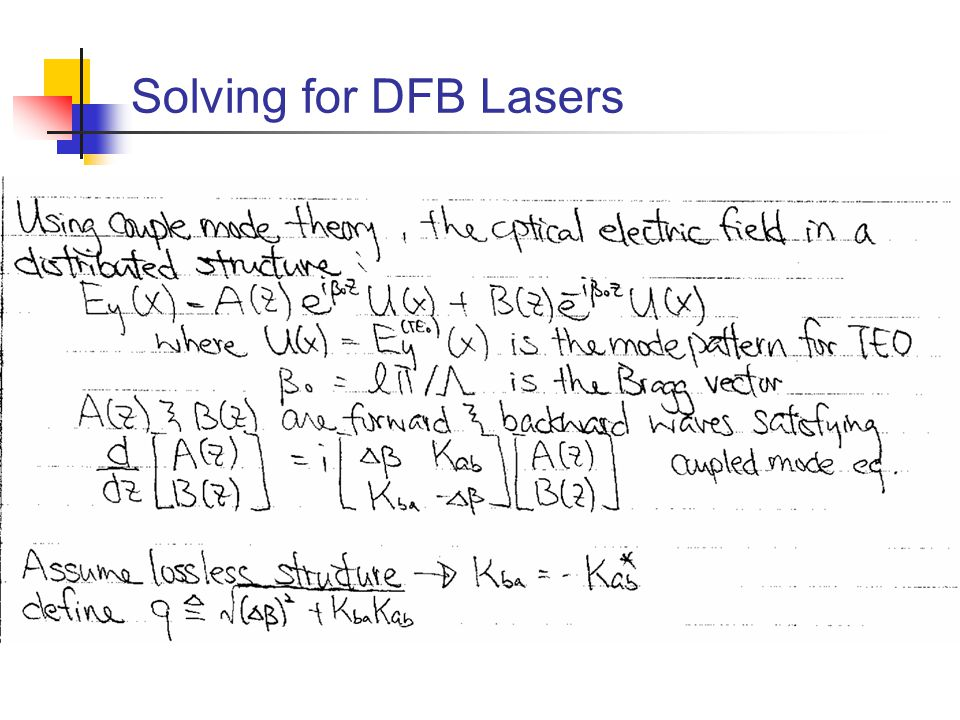 Solving for DFB Lasers