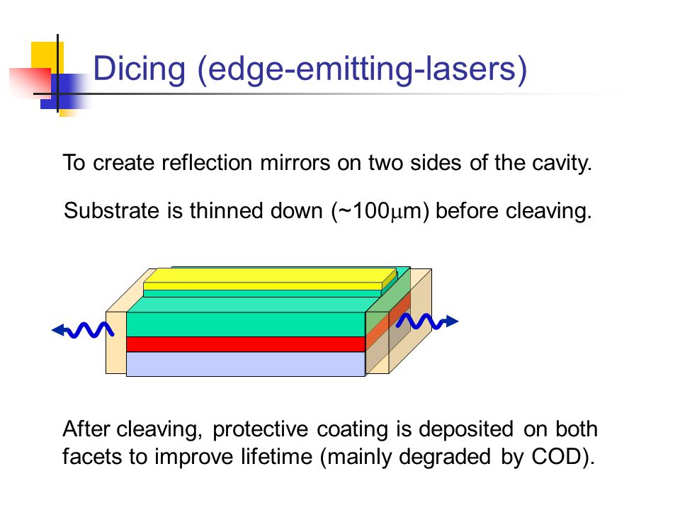 Dicing (edge-emitting-lasers) Substrate is thinned down (~100  m) before cleaving.