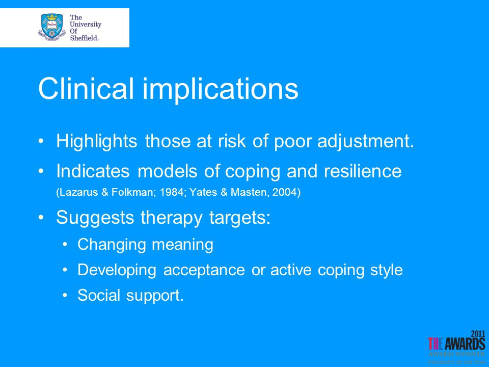 Clinical implications Highlights those at risk of poor adjustment.