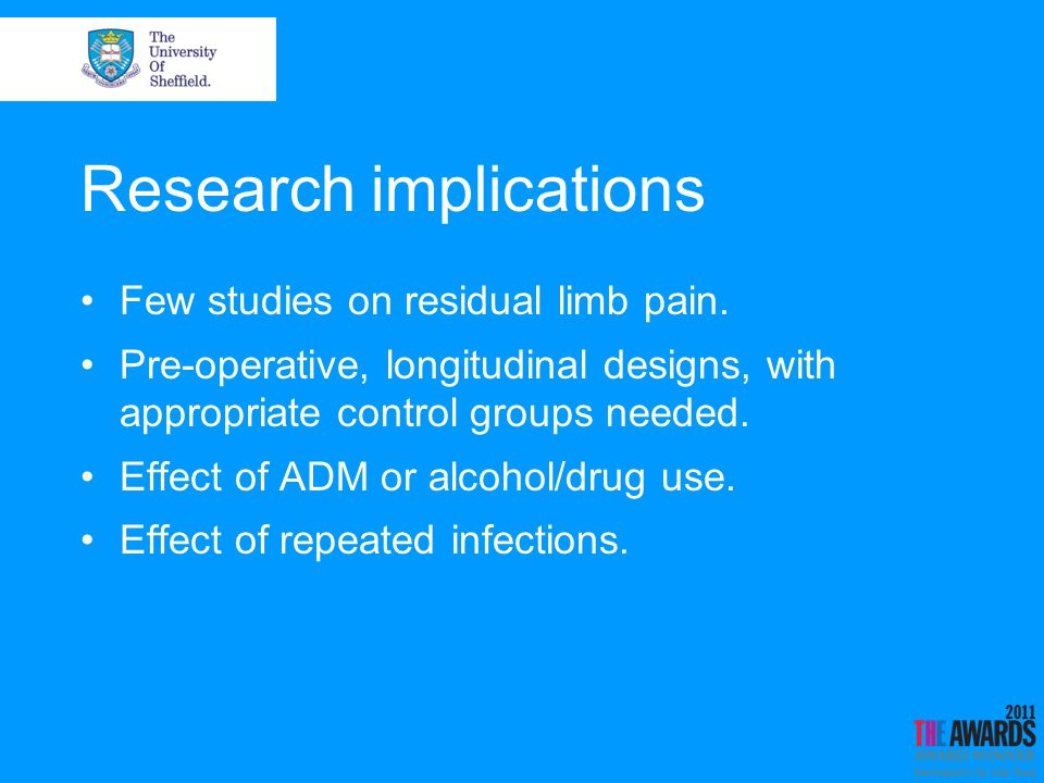 Research implications Few studies on residual limb pain.