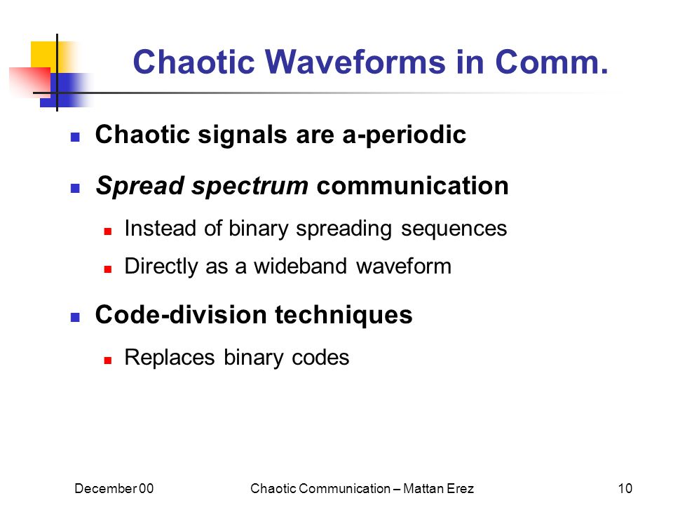 December 00Chaotic Communication – Mattan Erez10 Chaotic Waveforms in Comm.