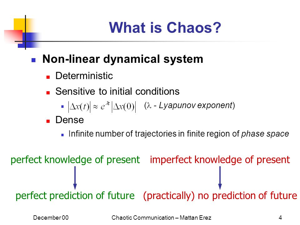December 00Chaotic Communication – Mattan Erez4 What is Chaos.