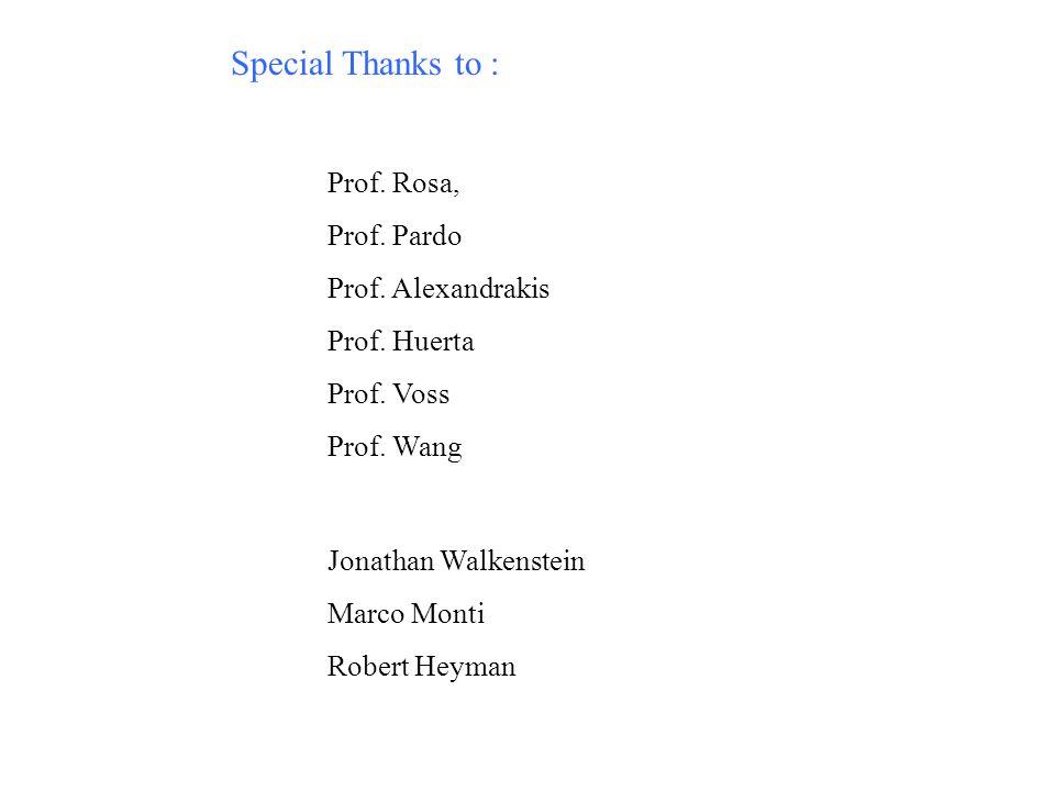 Special Thanks to : Prof. Rosa, Prof. Pardo Prof. Alexandrakis Prof. Huerta Prof. Voss Prof. Wang Jonathan Walkenstein Marco Monti Robert Heyman