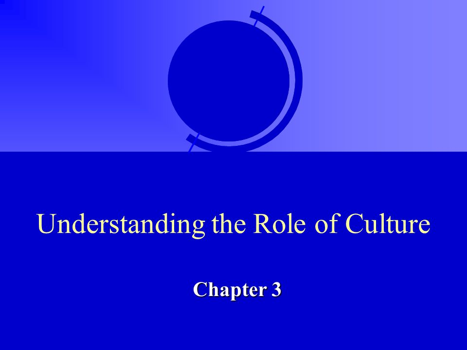 Understanding the Role of Culture Chapter 3