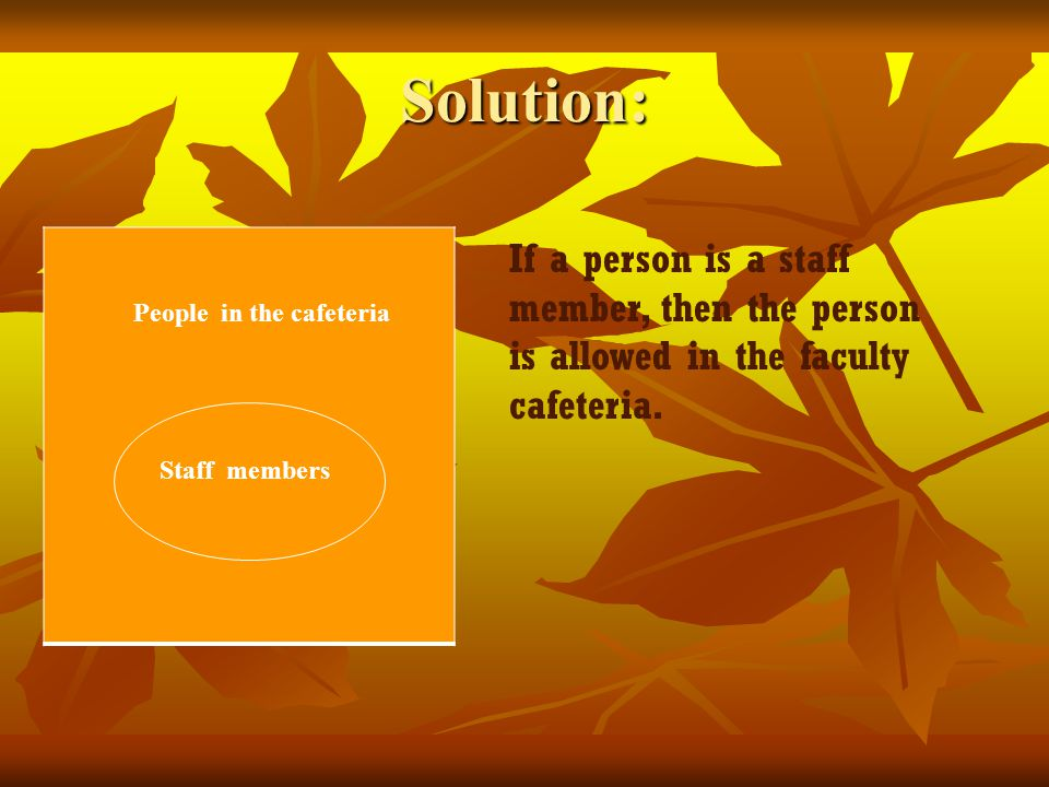 Solution: People in the cafeteria Staff members If a person is a staff member, then the person is allowed in the faculty cafeteria.