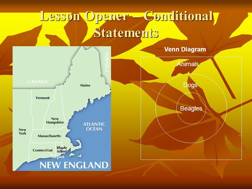 Lesson Opener – Conditional Statements Beagles Animals Dogs Hartford Venn Diagram