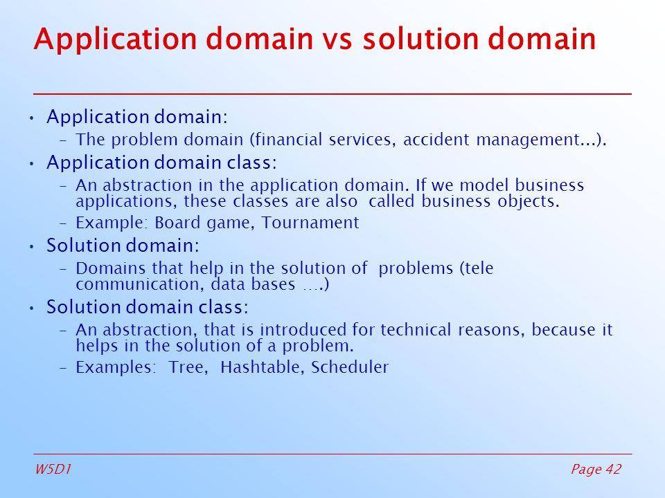 Page 42W5D1 Application domain vs solution domain Application domain: –The problem domain (financial services, accident management...).