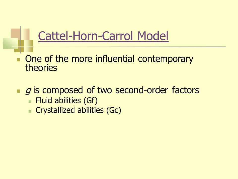 Cattel-Horn-Carrol Model One of the more influential contemporary theories g is composed of two second-order factors Fluid abilities (Gf) Crystallized