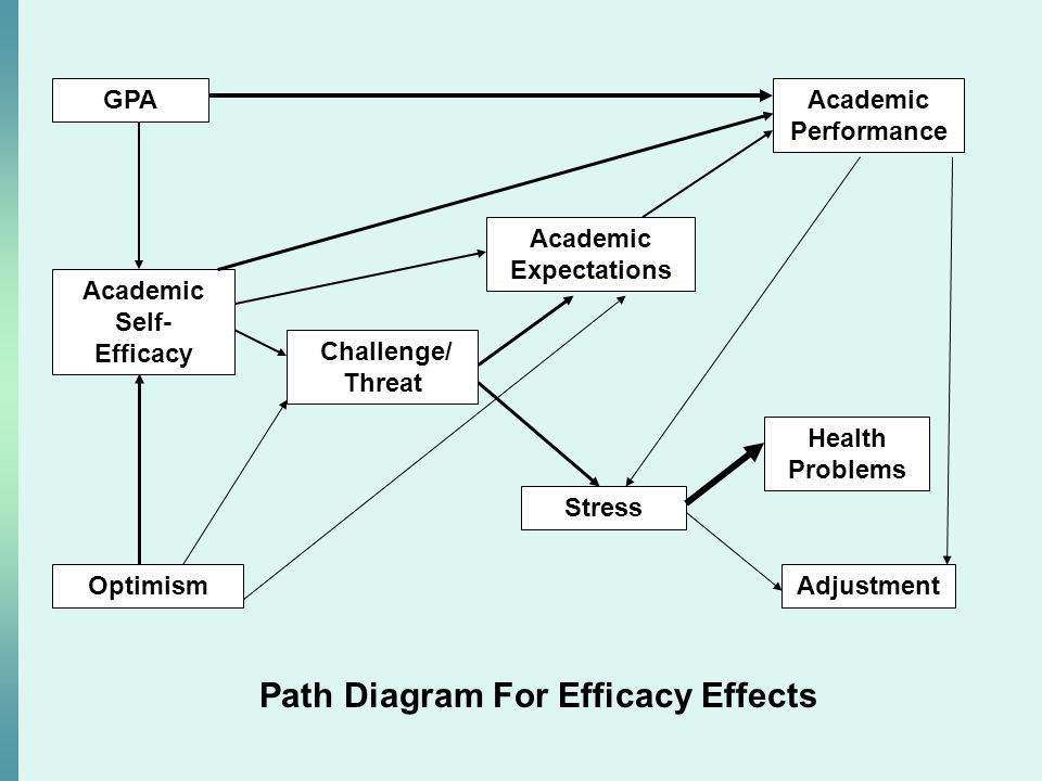GPA Academic Self- Efficacy Optimism Challenge/ Threat Academic Expectations Academic Performance Stress Health Problems Adjustment Path Diagram For Efficacy Effects