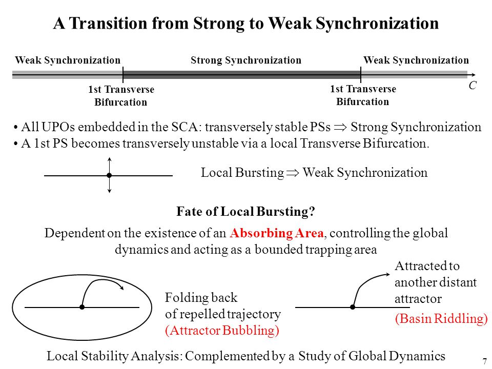 7 A Transition from Strong to Weak Synchronization Weak Synchronization Strong Synchronization 1st Transverse Bifurcation C Attracted to another distant attractor Dependent on the existence of an Absorbing Area, controlling the global dynamics and acting as a bounded trapping area Folding back of repelled trajectory (Attractor Bubbling) Local Stability Analysis: Complemented by a Study of Global Dynamics (Basin Riddling) 1st Transverse Bifurcation All UPOs embedded in the SCA: transversely stable PSs  Strong Synchronization A 1st PS becomes transversely unstable via a local Transverse Bifurcation.