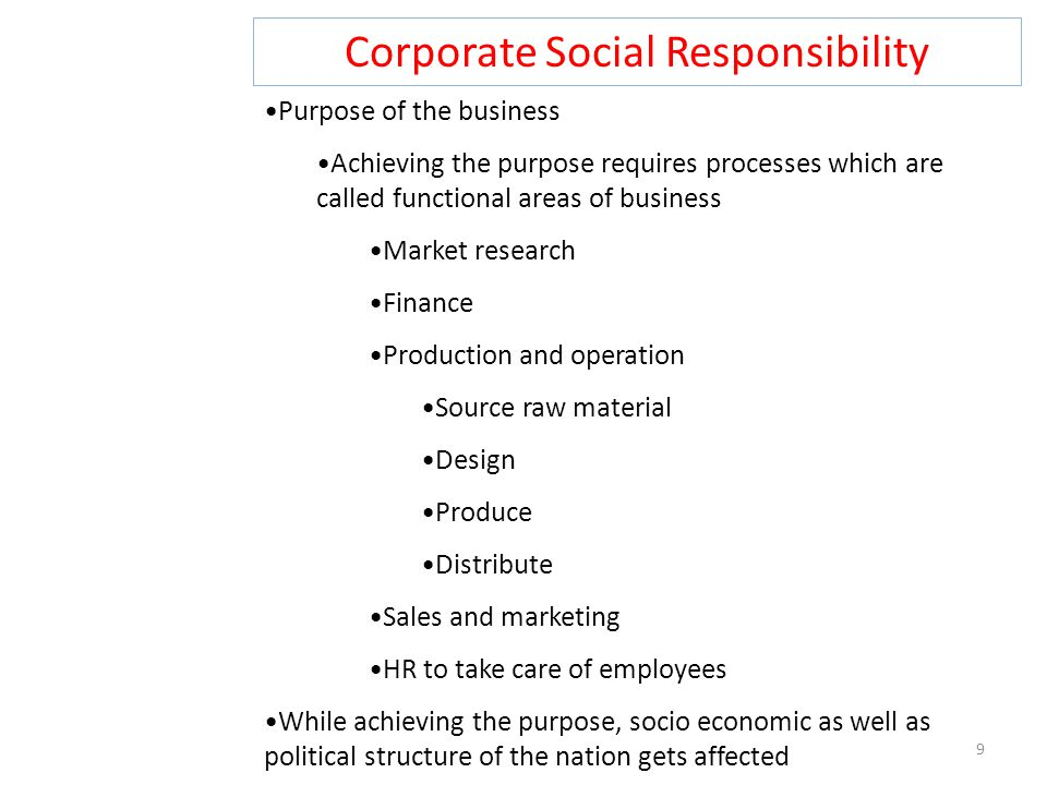 Corporate Social Responsibility 9 Purpose of the business Achieving the purpose requires processes which are called functional areas of business Marke