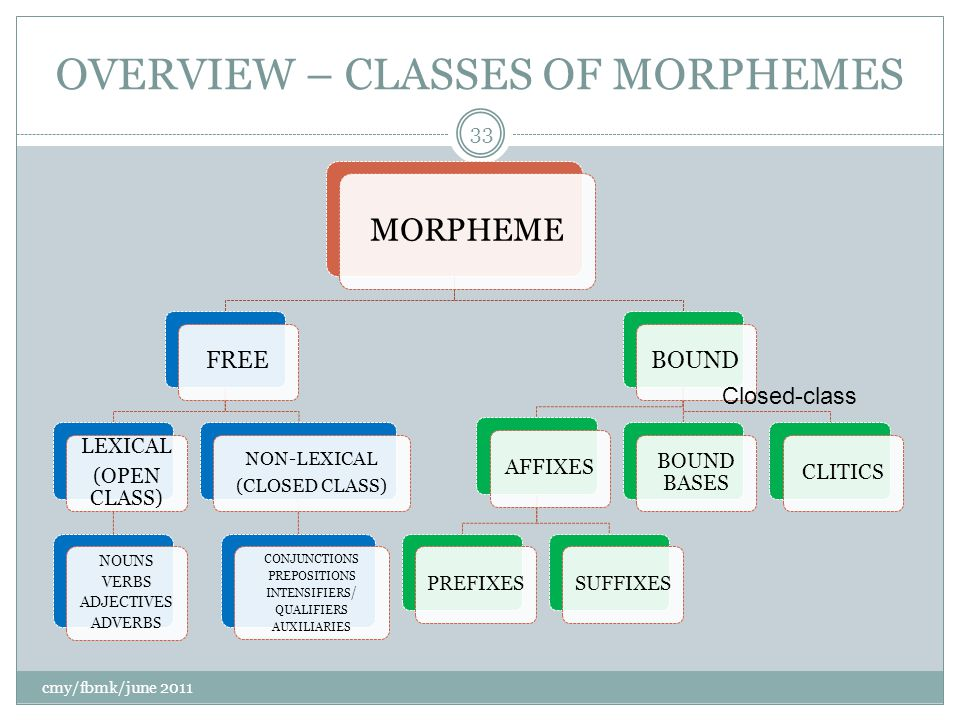 OVERVIEW – CLASSES OF MORPHEMES MORPHEME FREE LEXICAL (OPEN CLASS) NOUNS VERBS ADJECTIVES ADVERBS NON-LEXICAL (CLOSED CLASS) CONJUNCTIONS PREPOSITIONS INTENSIFIERS/ QUALIFIERS AUXILIARIES BOUND AFFIXES PREFIXESSUFFIXES BOUND BASES CLITICS cmy/fbmk/june 2011 33 Closed-class