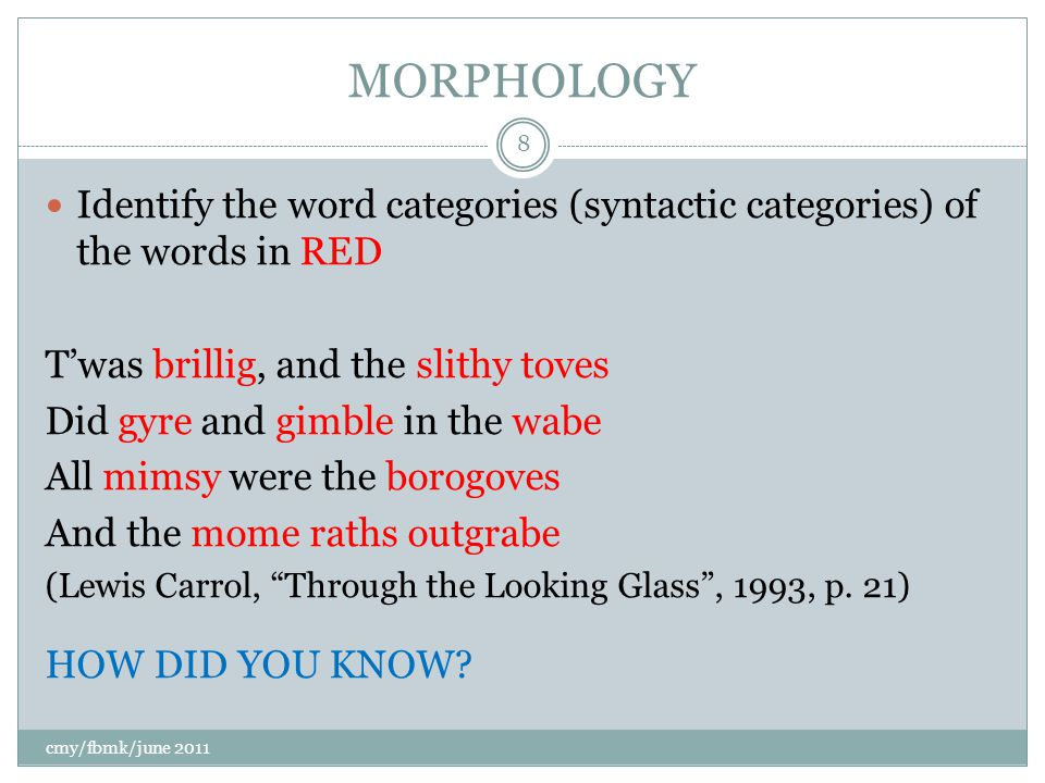 MORPHOLOGY Identify the word categories (syntactic categories) of the words in RED T'was brillig, and the slithy toves Did gyre and gimble in the wabe All mimsy were the borogoves And the mome raths outgrabe (Lewis Carrol, Through the Looking Glass , 1993, p.