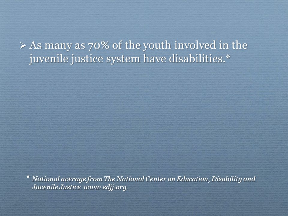 * National average from The National Center on Education, Disability and Juvenile Justice.