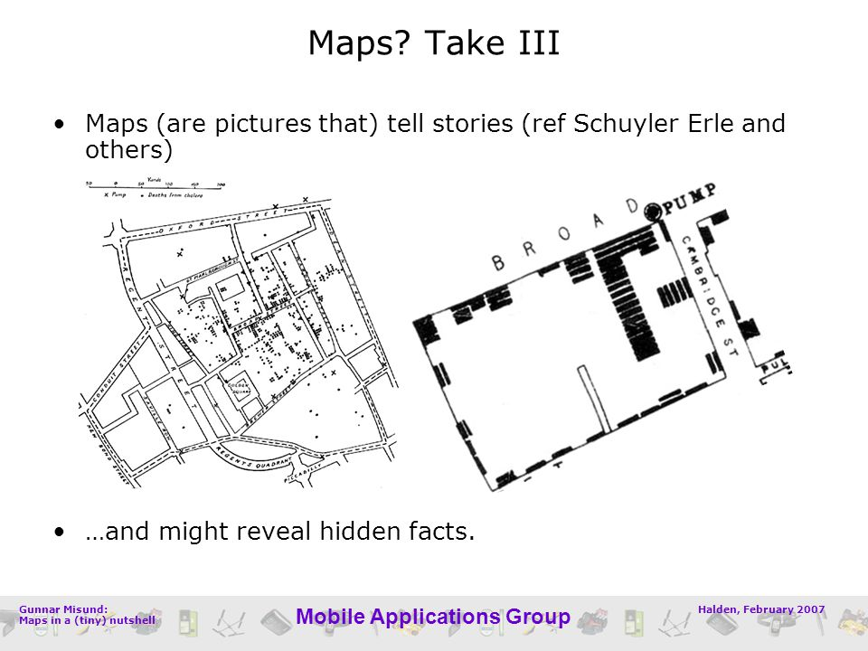 Halden, February 2007Gunnar Misund: Maps in a (tiny) nutshell Mobile Applications Group Maps (are pictures that) tell stories (ref Schuyler Erle and o