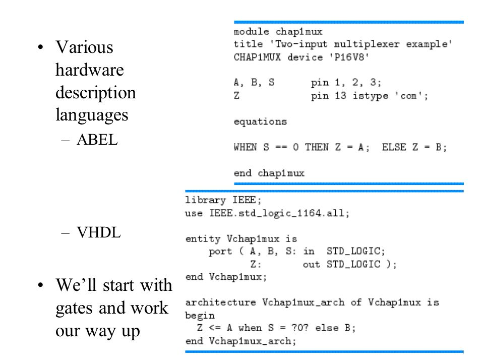 Various hardware description languages –ABEL –VHDL We'll start with gates and work our way up