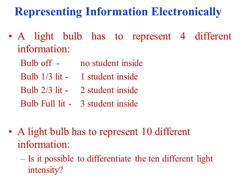 Representing Information Electronically A light bulb has to represent 2 different information: Bulb off-no student inside Bulb Full lit -1 student inside A light bulb has to represent 4 different information: –How.