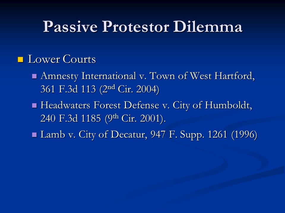 Passive Protestor Dilemma Lower Courts Lower Courts Amnesty International v.