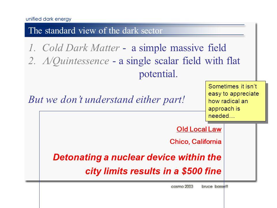 1.Cold Dark Matter - a simple massive field 2.