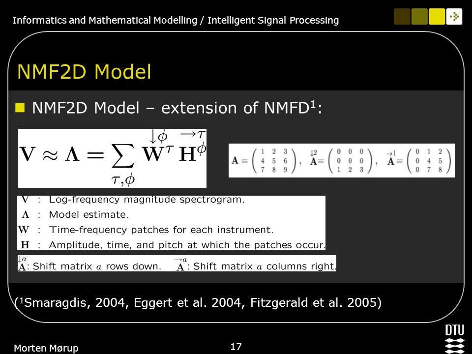 Informatics and Mathematical Modelling / Intelligent Signal Processing 17 Morten Mørup NMF2D Model NMF2D Model – extension of NMFD 1 : ( 1 Smaragdis, 2004, Eggert et al.