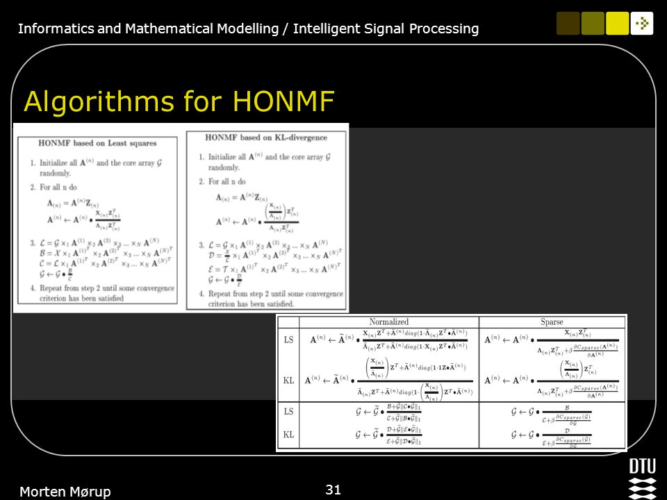 Informatics and Mathematical Modelling / Intelligent Signal Processing 31 Morten Mørup Algorithms for HONMF