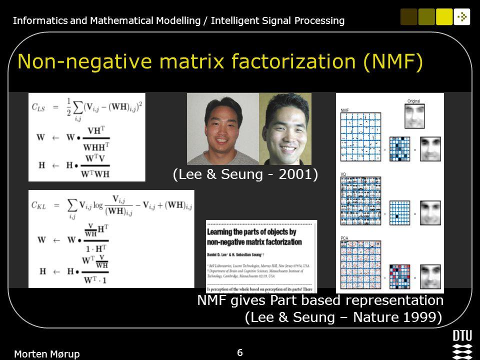 Informatics and Mathematical Modelling / Intelligent Signal Processing 27 Morten Mørup PART II: Higher Order NMF (HONMF)
