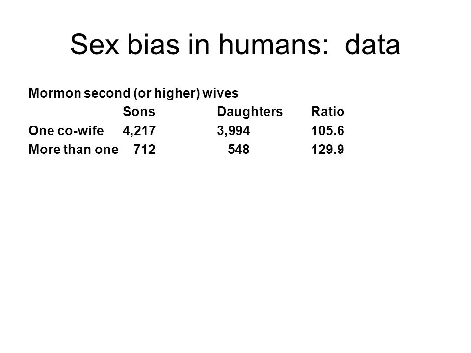 Sex bias in humans: data Mormon second (or higher) wives SonsDaughtersRatio One co-wife4,2173,994105.6 More than one 712 548 129.9