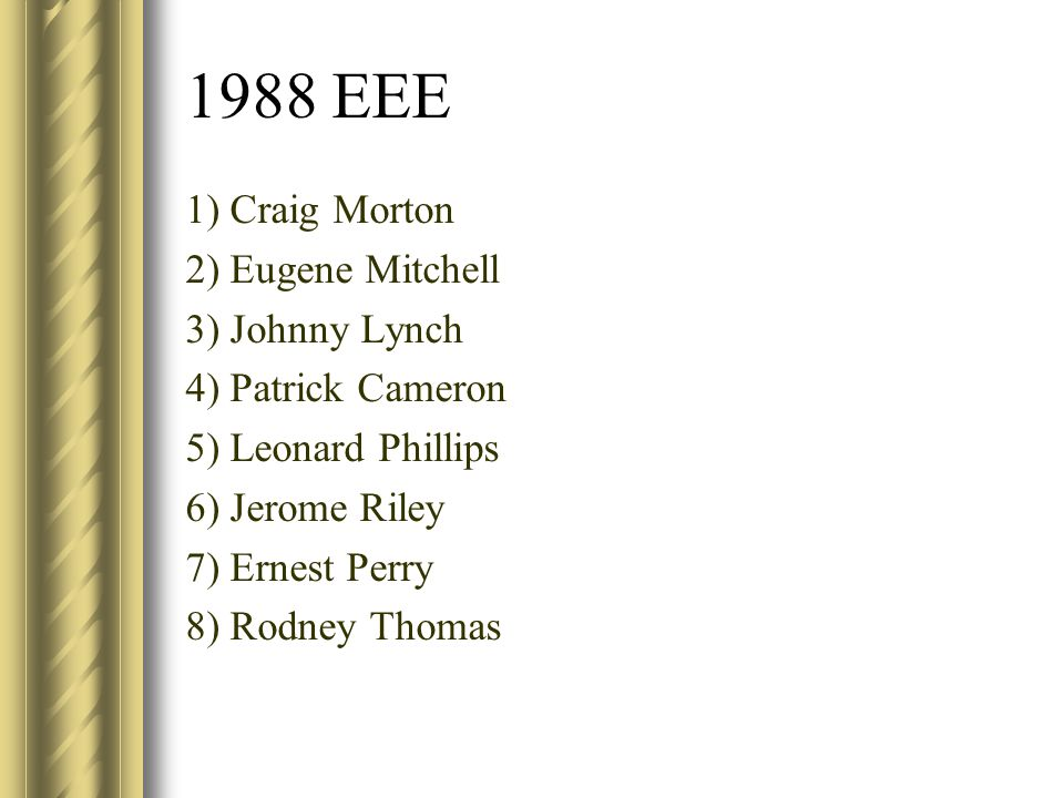 1988 EEE 1) Craig Morton 2) Eugene Mitchell 3) Johnny Lynch 4) Patrick Cameron 5) Leonard Phillips 6) Jerome Riley 7) Ernest Perry 8) Rodney Thomas