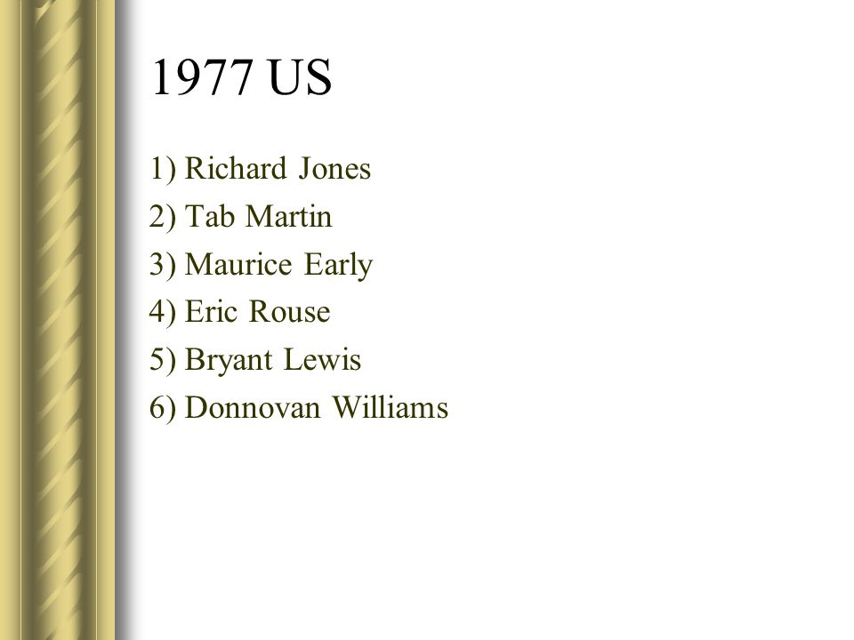 1977 US 1) Richard Jones 2) Tab Martin 3) Maurice Early 4) Eric Rouse 5) Bryant Lewis 6) Donnovan Williams