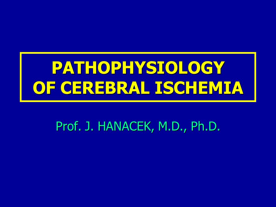 PATHOPHYSIOLOGY OF CEREBRAL ISCHEMIA Prof. J. HANACEK, M.D., Ph.D.